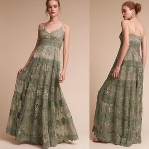 Anthropologie BHLDN Joni Sage Formal Silk Dress